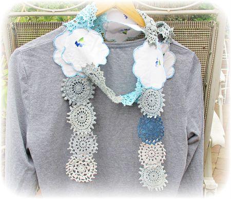 Serena Eşarp.  Vintage Doily Dantel.  Mavi Giyim.  Tığ işi  Pürüzlü şık