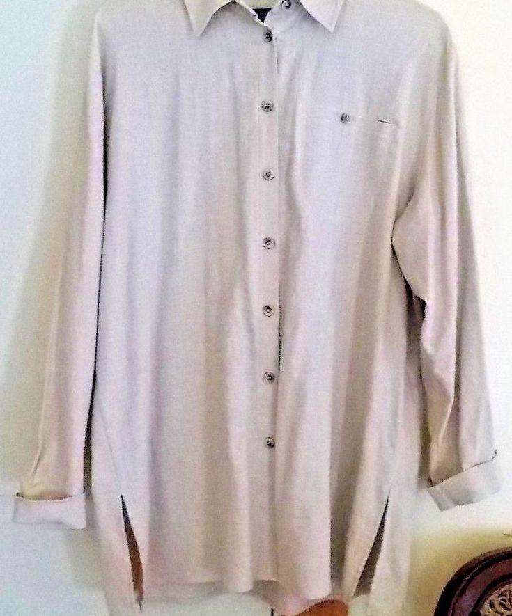 KAREN SCOTT SPORT- Women's Size L Tan Linen Blend Long Sleeve Tunic Blouse Top.  #KarenScott #ButtonDownShirt