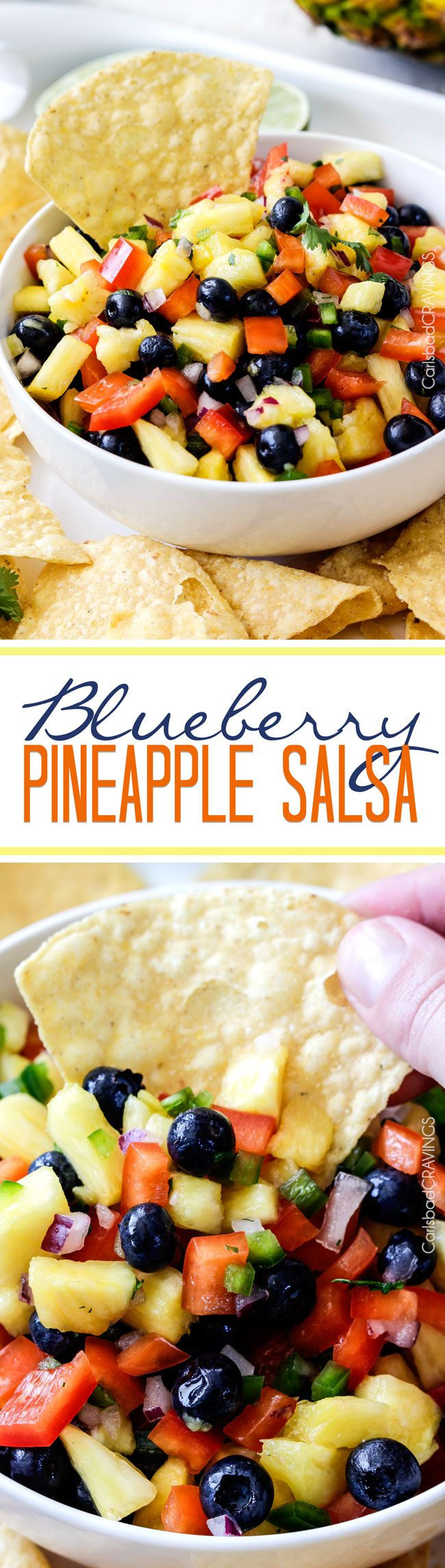 Refreshing sweet, bright Blueberry Pineapple Salsa is addictingly delicious with chips, on chicken, fish, tacos or just a spoon! This easy salsa makes everything better! via @carlsbadcraving