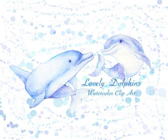 Sea Creature-Dolphins Clip art Hand Painted Animal