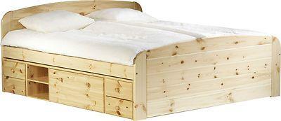 Letto matrimoniale contenitori in legno pino massiccio naturale 180 x 200 | mobili arredoline