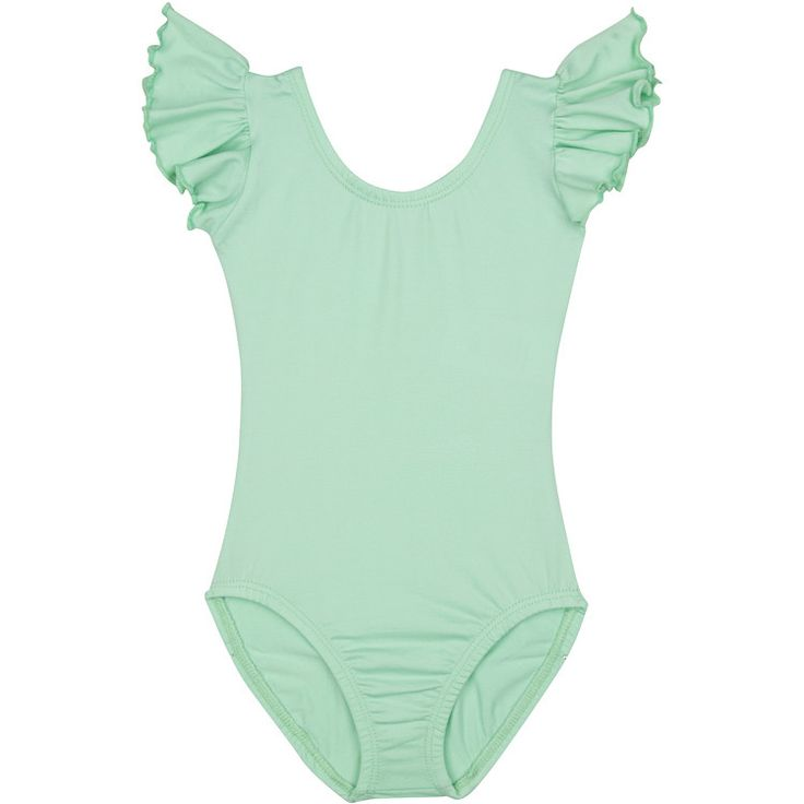 MINT GREEN Leotard with Flutter / Ruffle Short Sleeve for Toddler and Girls – The Leotard Boutique
