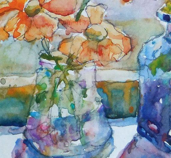 "Hand Painted Original Watercolour painting of orange flowers in glass vases on windowsil. Flowers, still life - 6""x6"" painting | Pinterest | Watercolor, Origin…"