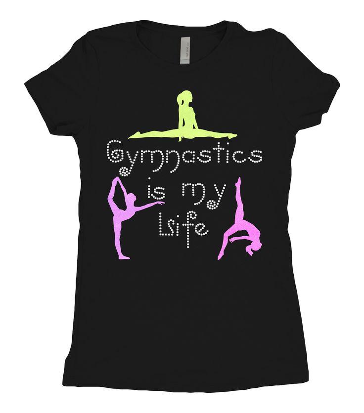 "Tee shirt - ""Gymnastics is my life"" Rhinestone Design with neon glitter gymnast…"