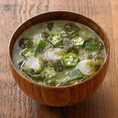 食べるスープ 海苔とオクラの味噌汁