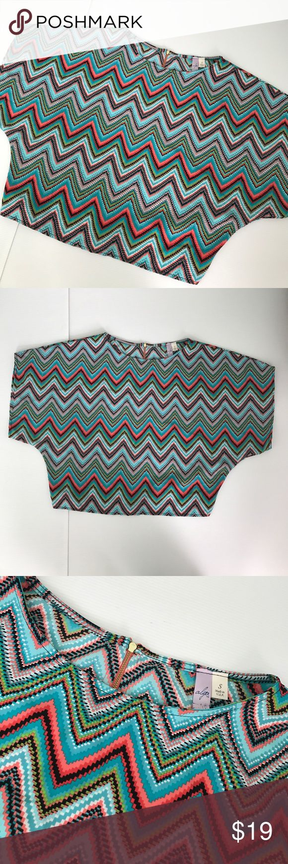 Alya batwing chevron print top size S small Alya brand chevron top size small but is loose fitting. Beautiful zipper back Batwing sleeve  Orange teal turquoise salmon coral black green Alya Tops Blouses
