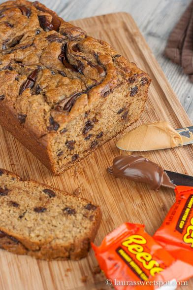 Nutella Swirled Peanut Butter Banana Bread- NUTELLA, BANANAS, PEANUT BUTTER, CHOCOLATE CHIPS,