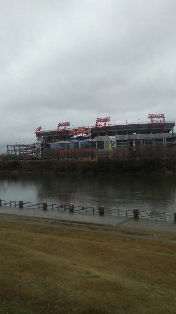 Nissan Stadium  from across the river
