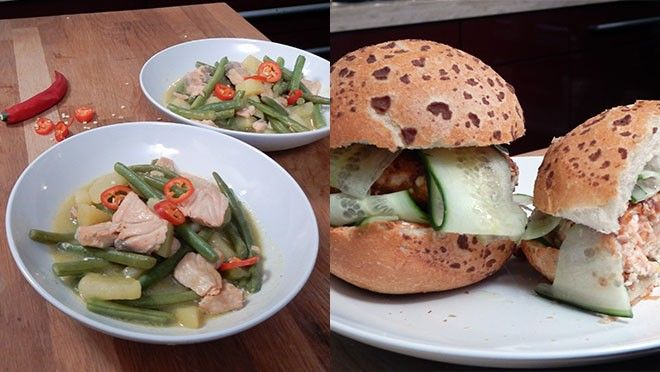 Thaise curry met zalm & zalmburgers
