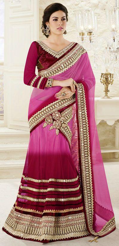 Shaded Dark Pink Net Border Work Party Wear Lehenga Saree 42469