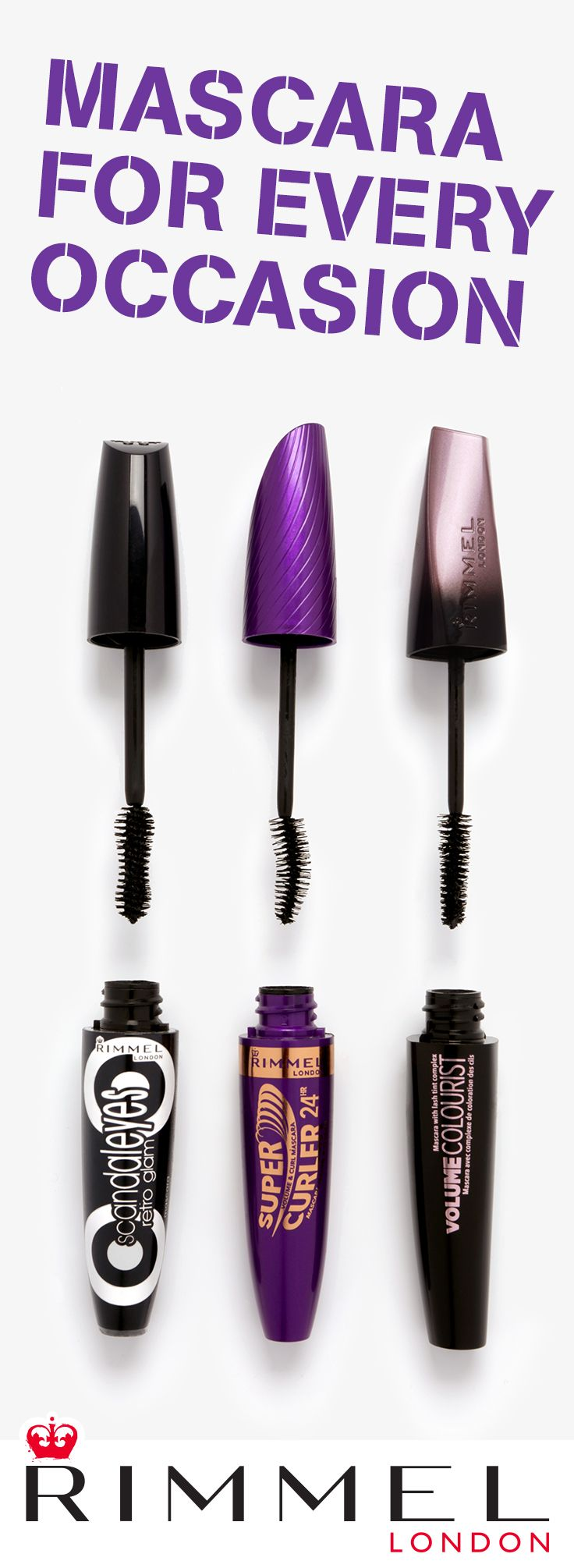 Three unique mascaras, three guaranteed-gorgeous lash looks. Rimmel London Scandaleyes Retro Glam Mascara is the perfect fit for a wide-eyed, falsies effect. Try 24-hour Supercurler for combined volume and instant curling. And Volume Colourist tints over time for naturally dramatic lashes. Find your new mascara here: