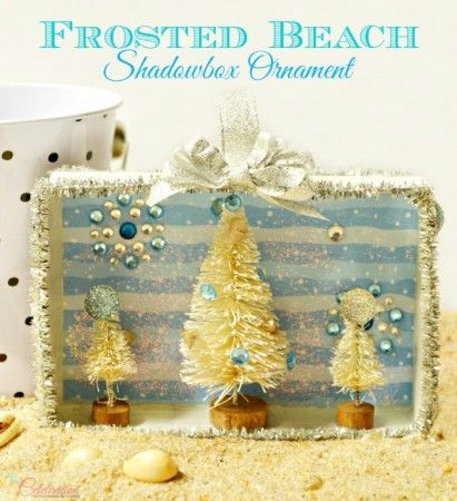 Frosted Beach Shadowbox Ornament