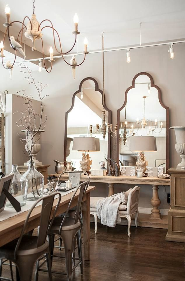 Mirrors Buffet Table Urns And Chairs Love It All Find This Pin More On Restoration Hardware Livingroom