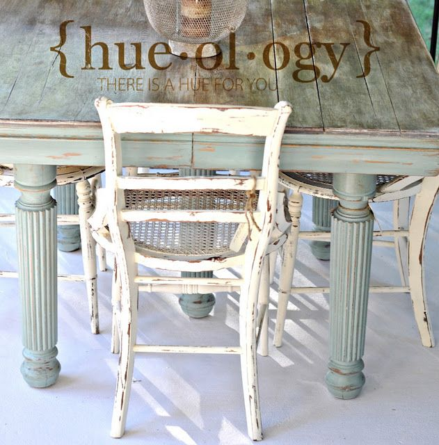 Painted in Chalk Paint® decorative paint by Annie Sloan. Table Base = Duck Egg Blue, Chairs = Old White. Lovely!