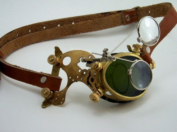SALE Steampunk Brass Monocle Goggles Victorian Mad by BrazenDevice, $74.00