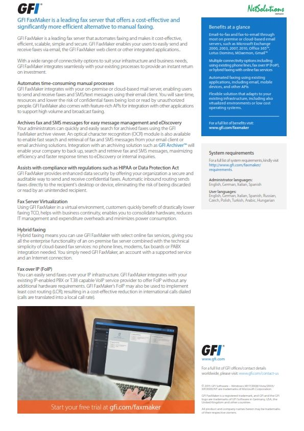 PT. #Netsolutions Infonet #GFI FaxMaker integrates with your on-premise or cloud-based mail server, enabling users to send and receive faxes and SMS/text messages using their email client