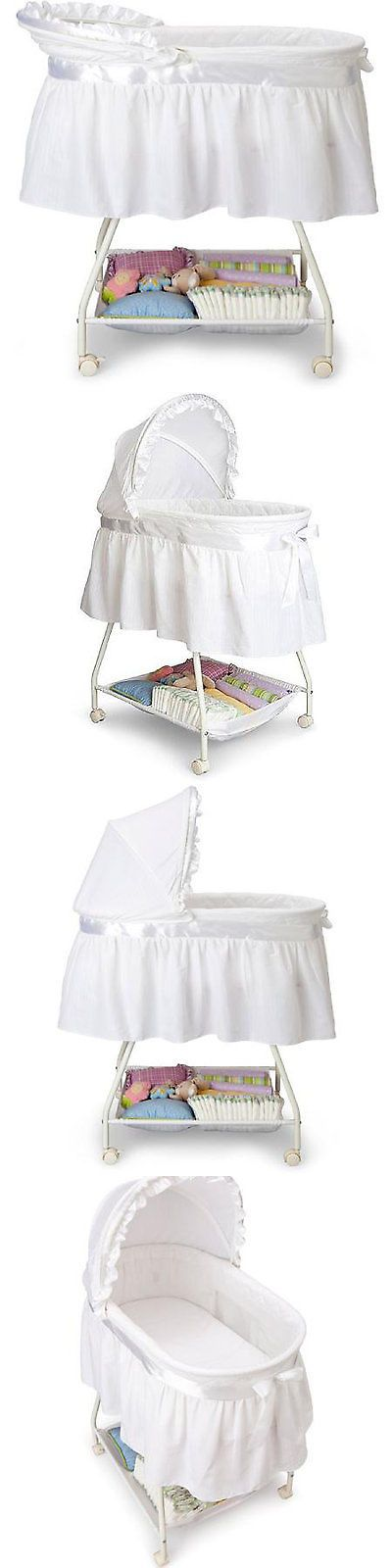 Baby Nursery: Portable Baby Bassinet Newborn Cradle White Moses Basket Infant Nursery BUY IT NOW ONLY: $47.33
