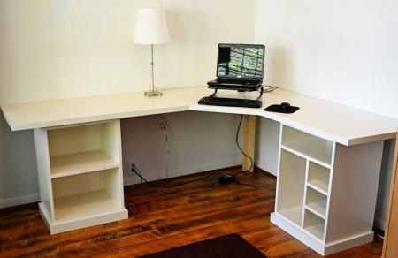 DIY computer desk; would make the bottoms filing cabinets and drawer space