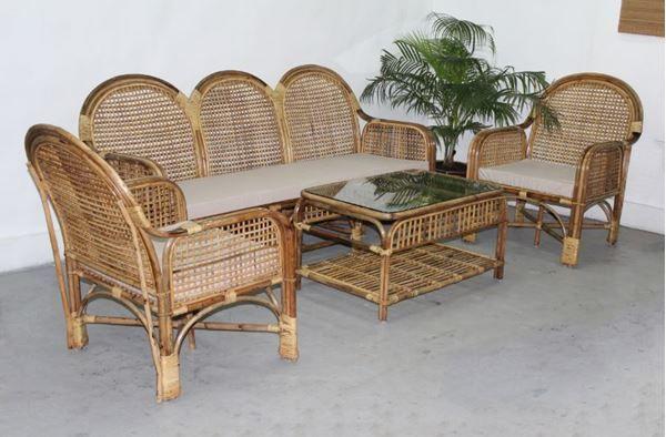 Bamboo Sofa Cane Furniture, Bamboo Sofa Set