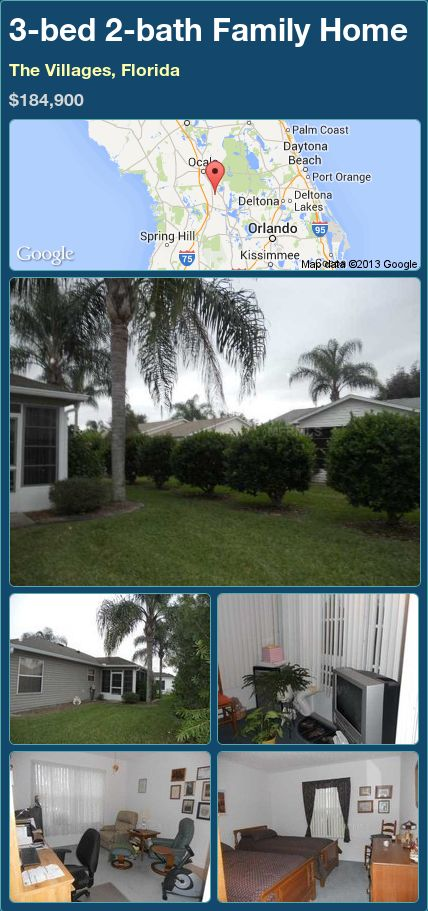3-bed 2-bath Family Home in The Villages, Florida ►$184,900 #PropertyForSale #RealEstate #Florida http://florida-magic.com/properties/88576-family-home-for-sale-in-the-villages-florida-with-3-bedroom-2-bathroom