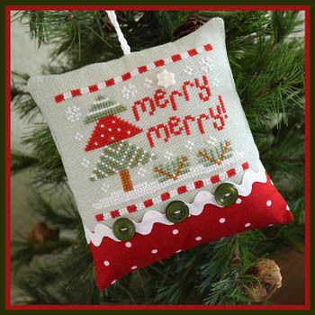 Country Cottage Needleworks Merry Merry! (Classic Collection 10) - Cross Stitch Pattern. Model stitched on 32 Ct. Patina linen with DMC and Classic Colorworks f