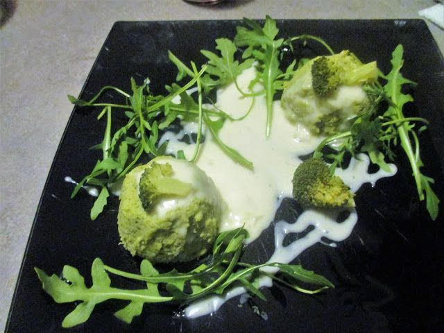 FORNELLI IN FIAMME: FLAN OF BROCCOLI AND ROCKET SALAD WITH RASCHERA CR...