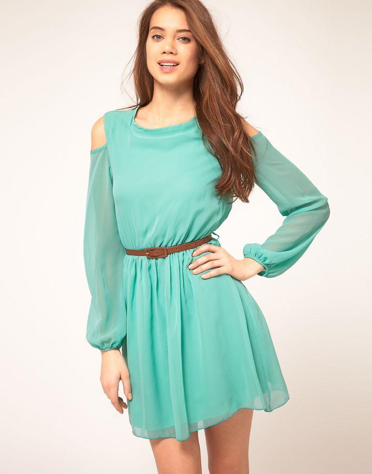 Rare Chiffon Cut Out Shoulder Belted Dress