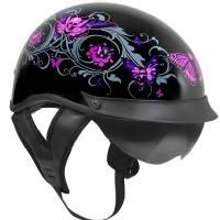 Outlaw T-72 Dual-Visor Glossy Motorcycle Half Helmet with Graphics of Flowers and Skull Butterflies
