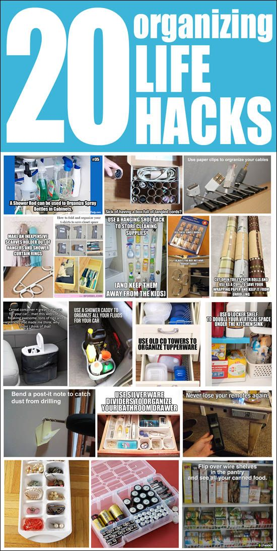 20 organizing life hacks. Aaah, why didn't I think of some of these!!!