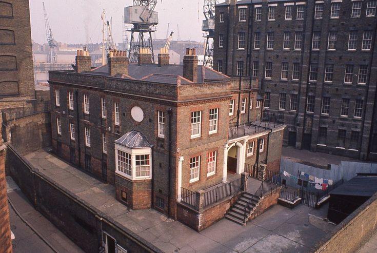 Raine Street Lodge, Raine St, Wapping, 1968, overshadowed by former St George's Workhouse/hospital