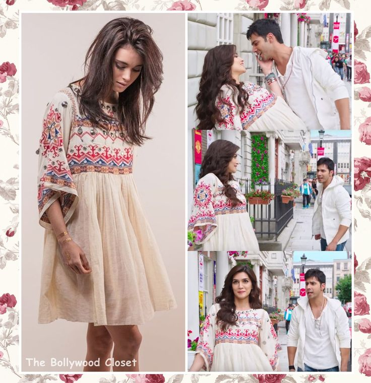 Kriti Sanon wearing a white embroidered dress by the designer Nina Kaufmann from the movie Dilwale.