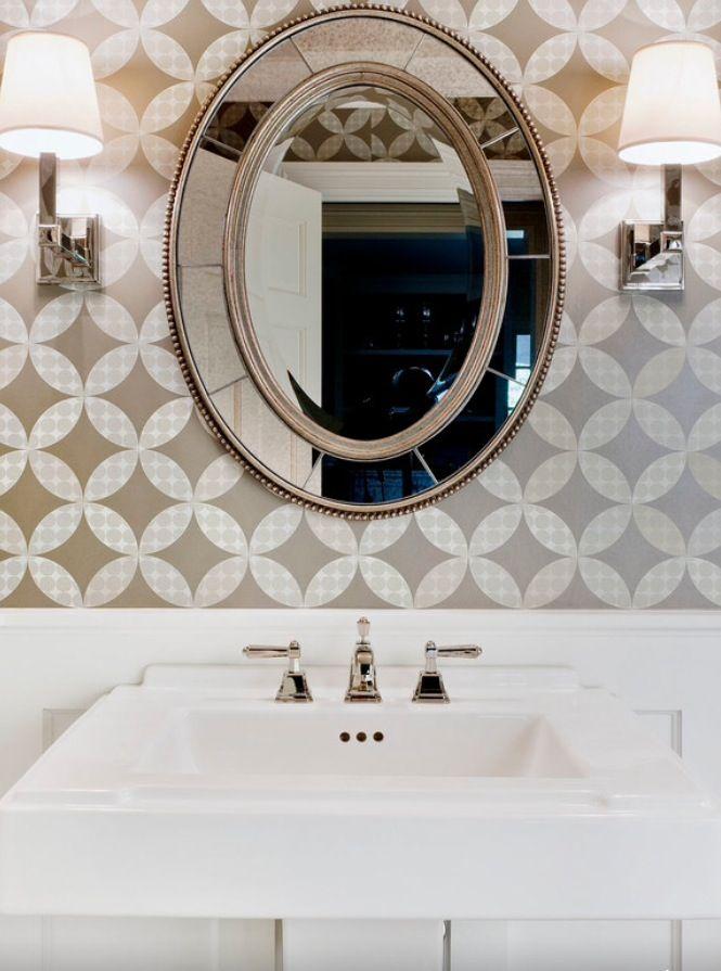 22 best Half Bath images on Pinterest | Bathroom, Bathrooms and Wall Wall Paper Tuscan Bathroom Design on farmhouse bathroom walls, composite bathroom walls, faux finish bathroom walls, victorian bathroom walls, rustic bathroom walls,