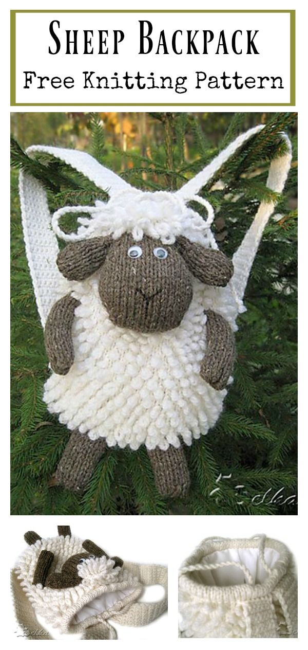 Sheep Backpack Free Knitting Pattern #Knit #Freepattern #Backpack