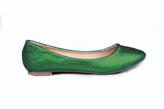 Emerald green wedding flats emerald wedding shoes by RagzDagzTM