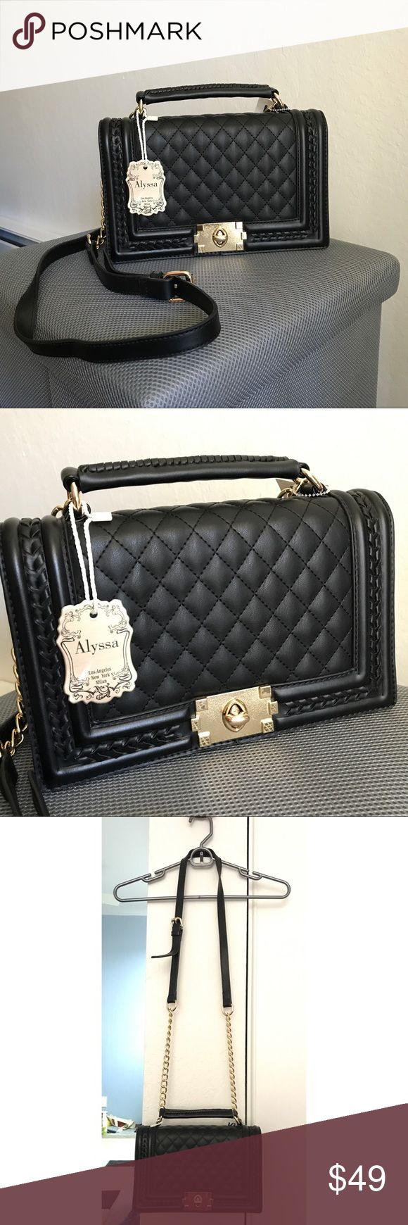 Designer Dupe Black Faux Leather Boy Bag Style Get that expensive designer look for way less with this Chanel-esque bag that has similar style to the iconic boy bag. Made with faux leather material and has adjustable but non detachable strap. Has gold-colored hardware and two interior pockets. FIRM PRICE. NO TRADES. Alyssa Bags Crossbody Bags