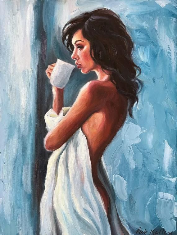 Female figure, naked, woman with coffee, expressionist, beautiful woman, oil painting with …