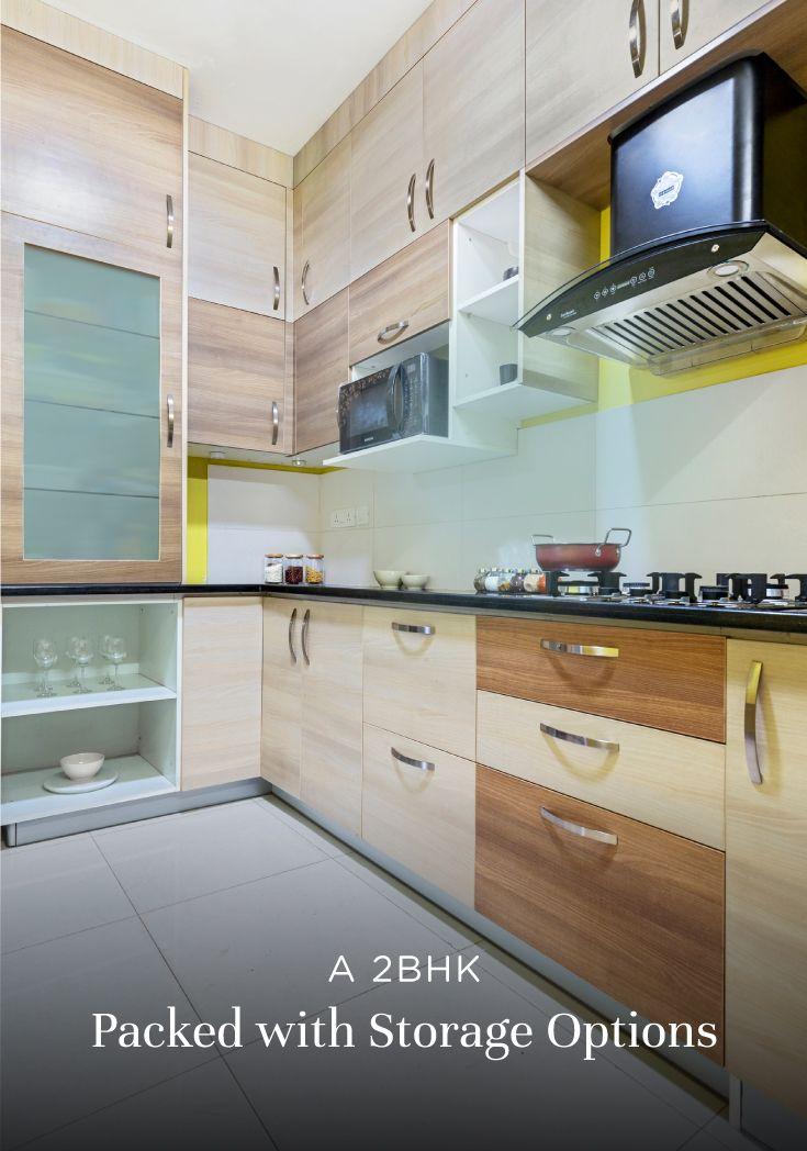 Budget Interiors For A Compact 2bhk Kitchen Interior Kitchen Design Home Interior Design