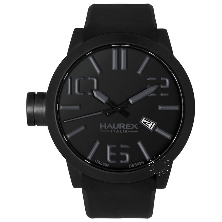 HAUREX ITALY TURBINA All Black Black Rubber Strap, 177€ http://www.oroloi.gr/product_info.php?products_id=27952