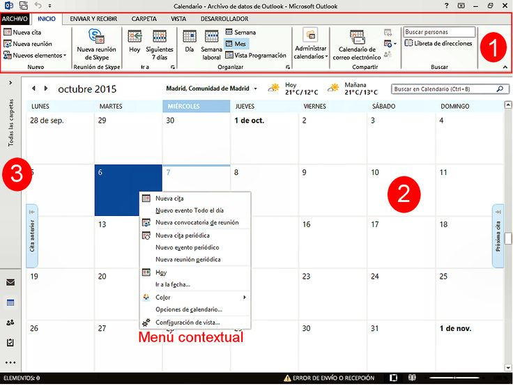 Calendario de Outlook 2013