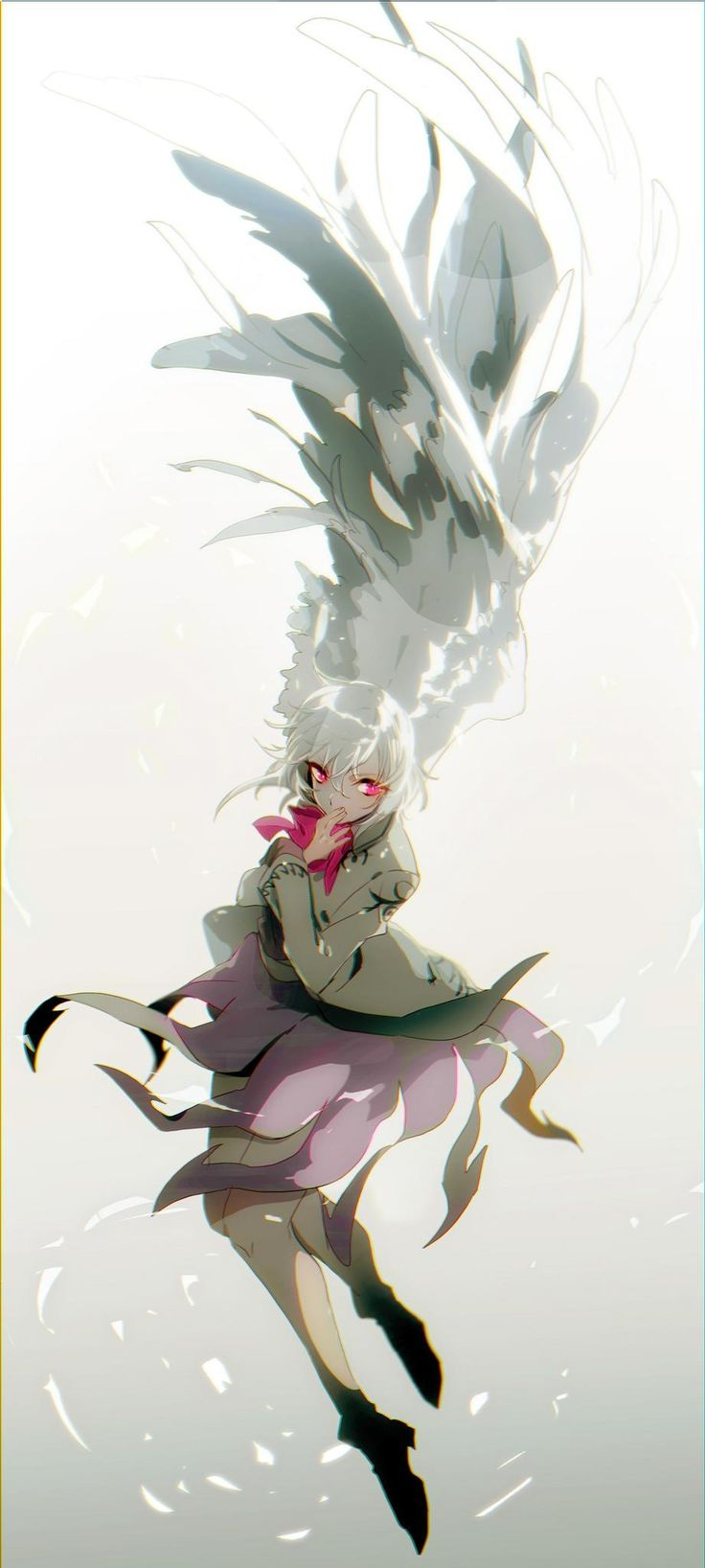 1girl boots border chromatic_aberration covering_mouth dress full_body gradient gradient_background highres kishin_sagume long_sleeves looking_to_the_side no-kan pink_eyes purple_dress short_hair silver_hair single_wing solo touhou vest wings