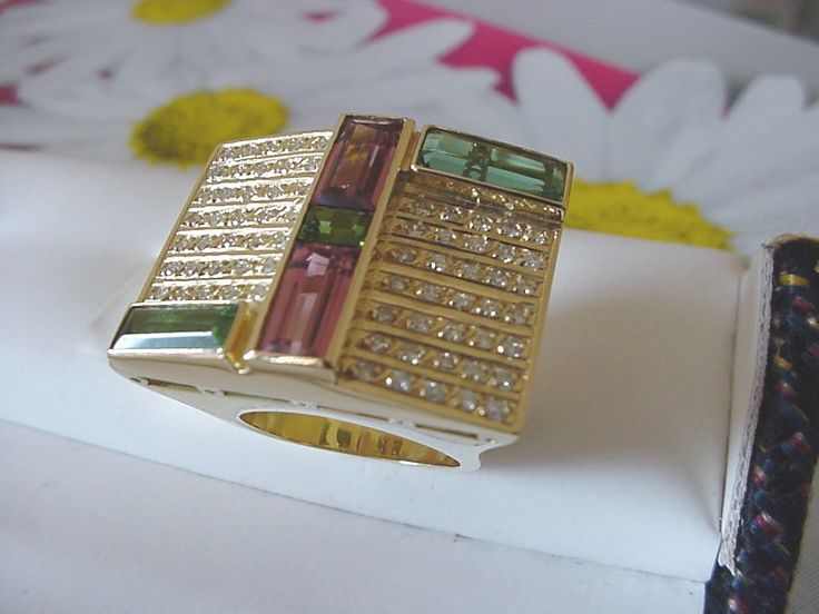 anel imperial turmalina rosa, verde e diamantes pink and green tourmalines ring with diamonds
