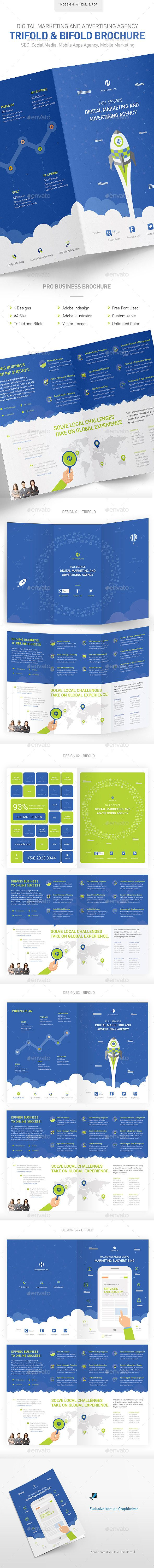 Digital Marketing Advertising Agency Brochure Print Template InDesign INDD Vector EPS AI