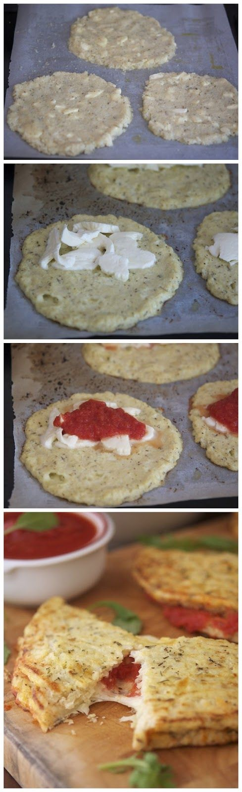 Cauliflower Crust Calzone. I love cauliflower! Will substitute with vegan mozzarella & a flax egg.