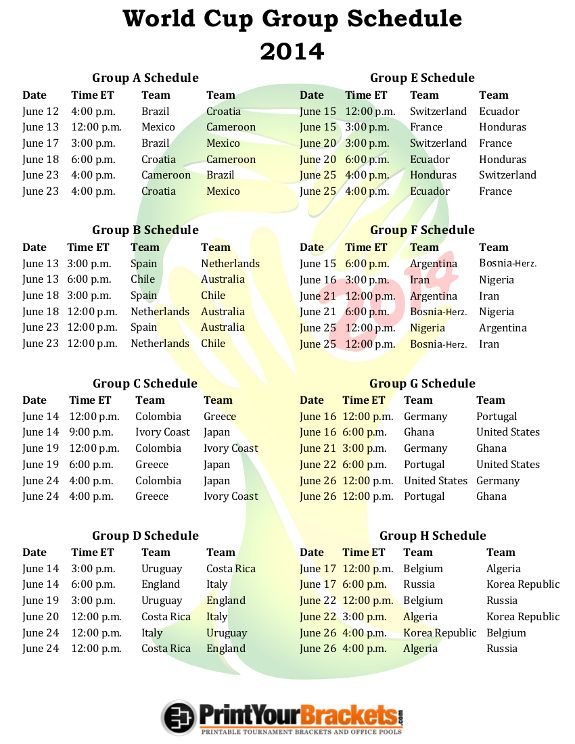 Printable 2014 World Cup Group Schedule
