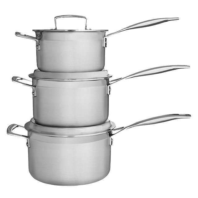 BuyLe Creuset 3-Ply Stainless Steel Saucepan Set Online at johnlewis.com