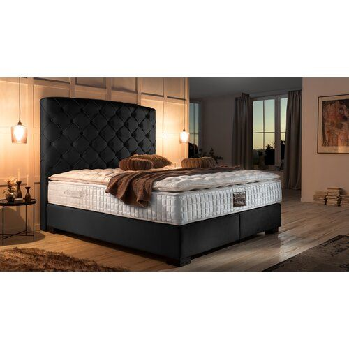 Boxspringbett Karley Mit Topper Canora Grey Farbe Samt Schwarz Liegeflache 180 X 200 Cm Hartegrad Der Matratze H2 Ca 60 Bis 80 Kg Home Decor Main Door Design Furniture