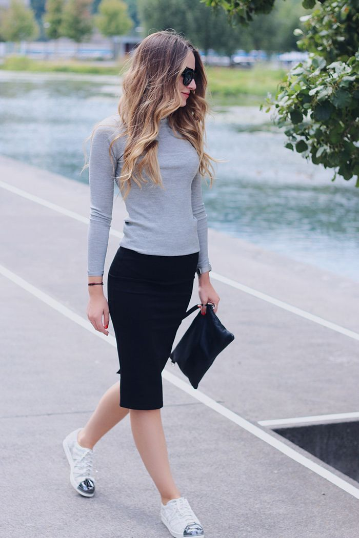 Rosemunde grey turtleneck styled with pencil skirt - www.heelsongasoline.com