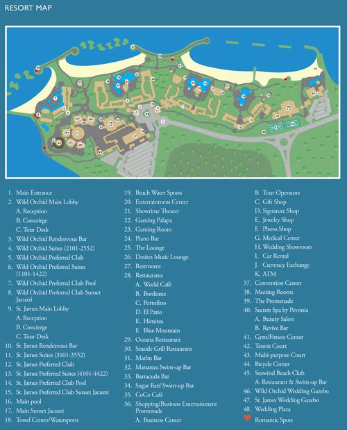 Secrets Wild Orchid Montego Bay Jamaica map of resort