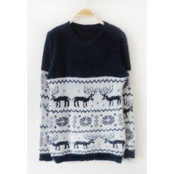 $9.72 Cartoon Deer And Snowflake Pattern Cotton Color Matching Elk Print Christmas Sweater For Women