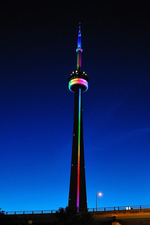 The CN Tower shows its colours for Toronto Pride.